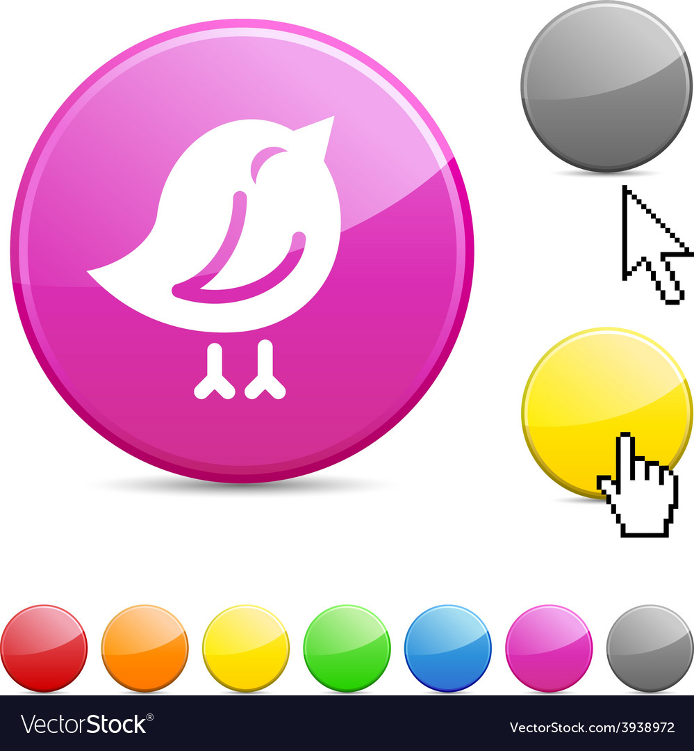 Bird glossy button vector | Price: 1 Credit (USD $1)