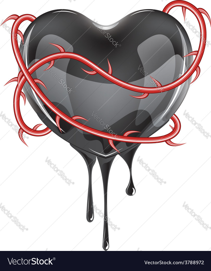 Bleeding black heart vector | Price: 3 Credit (USD $3)