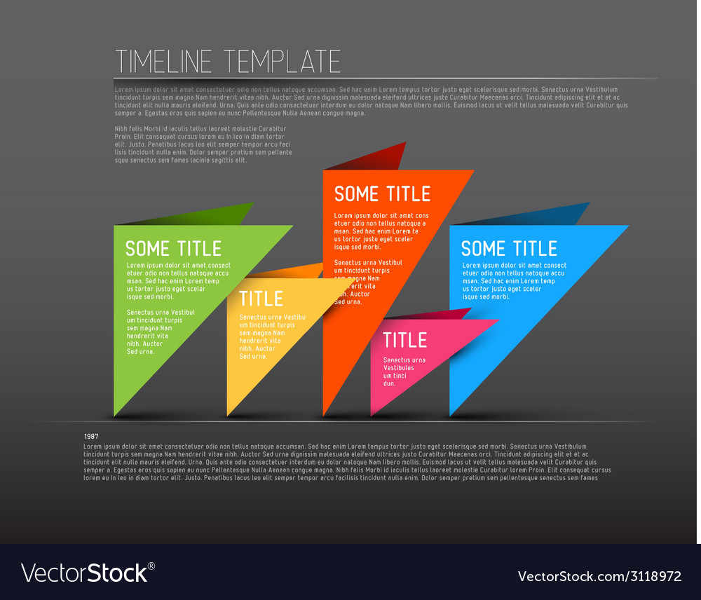Colorful dark infographic timeline report template vector | Price: 1 Credit (USD $1)