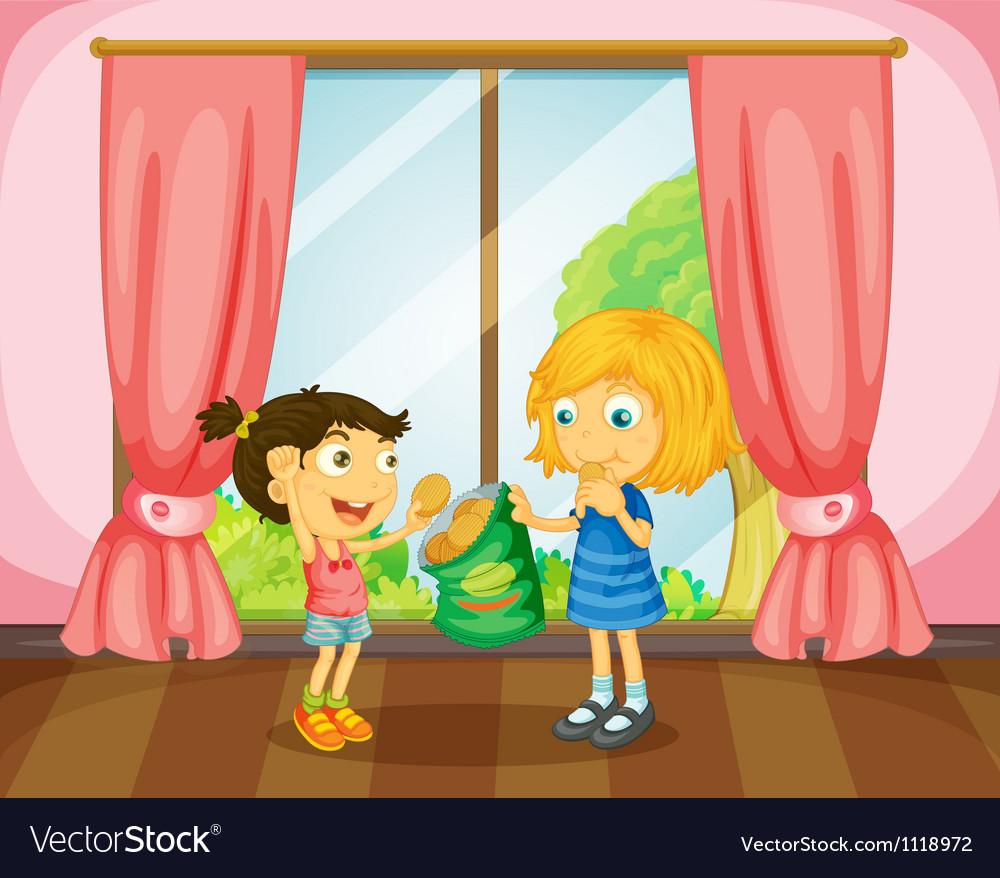 Girls eating cookies in room vector | Price: 1 Credit (USD $1)