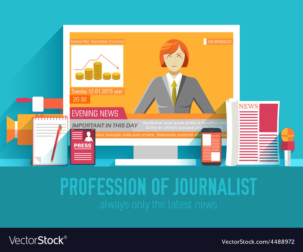 Global news information equipment for journalist vector | Price: 1 Credit (USD $1)