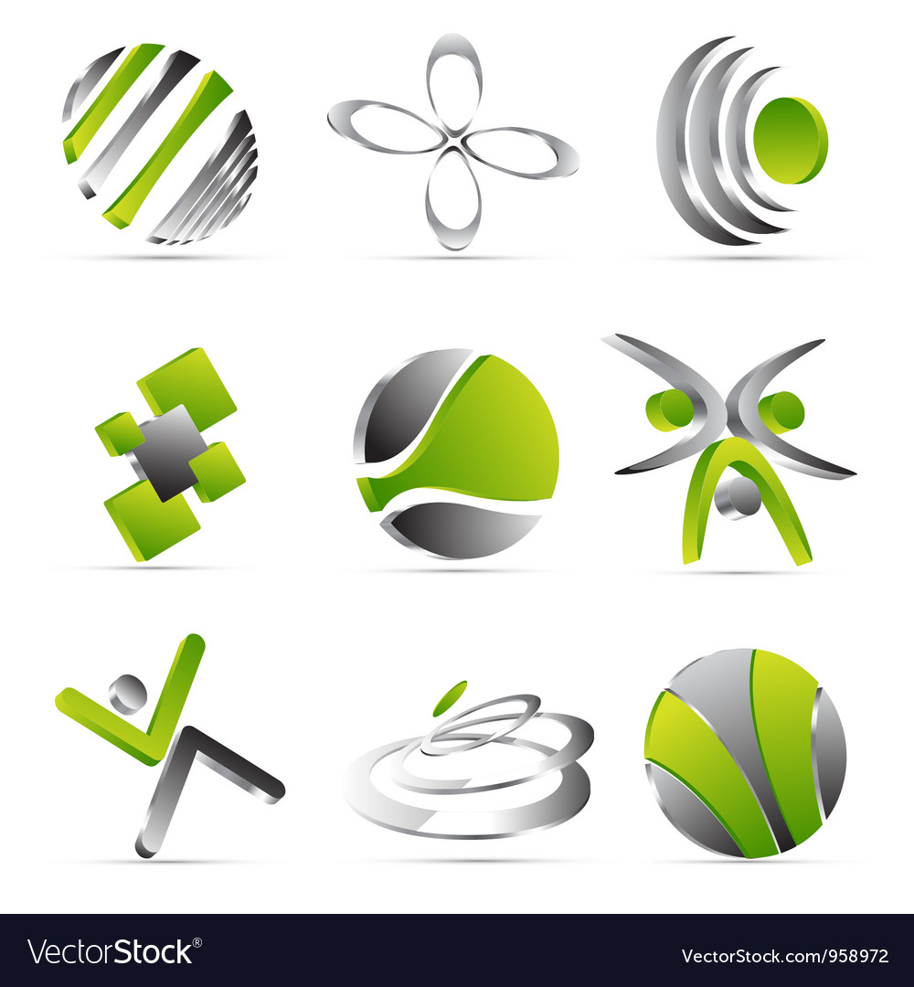 Green business icons design vector | Price: 1 Credit (USD $1)