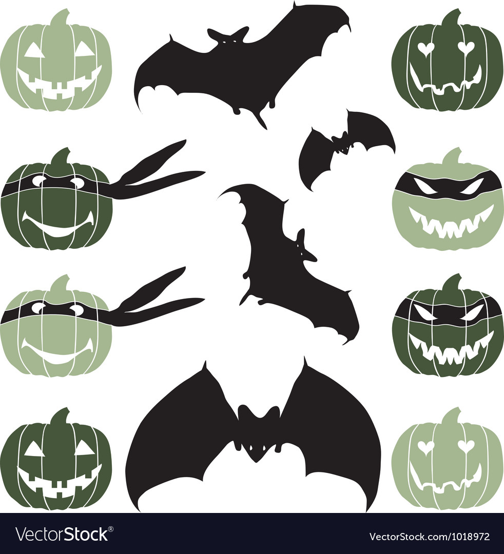 Halloween pumpkin head and bat vector | Price: 1 Credit (USD $1)