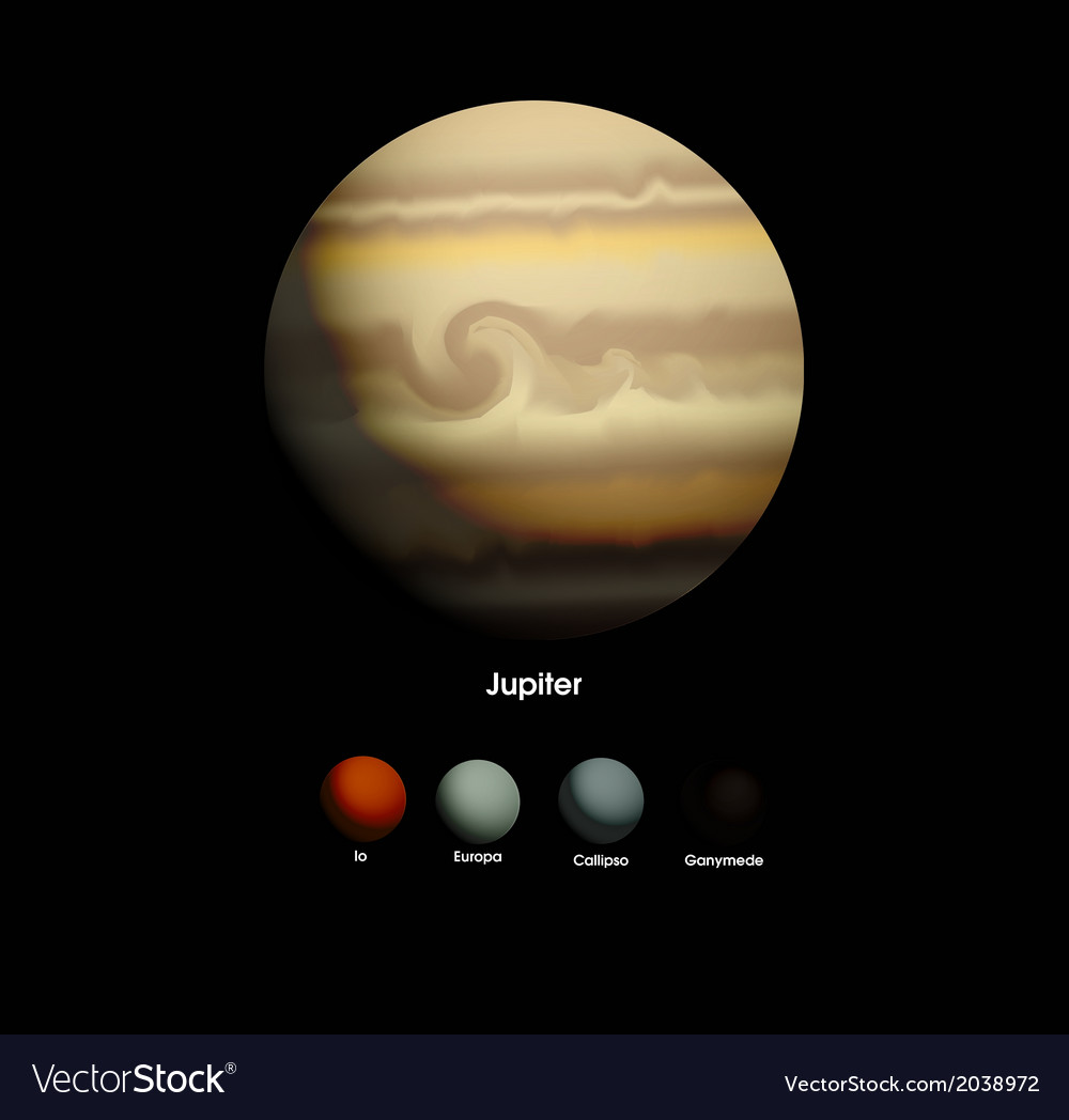 Jupiter and moons vector | Price: 1 Credit (USD $1)