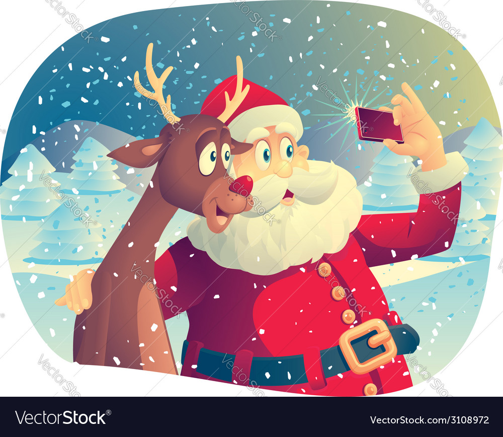 Santa claus and rudolph taking a photo together vector | Price: 3 Credit (USD $3)