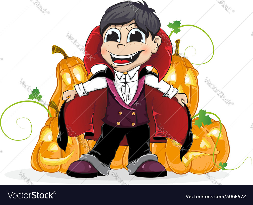 Vampire boy and jack o lanterns vector | Price: 1 Credit (USD $1)