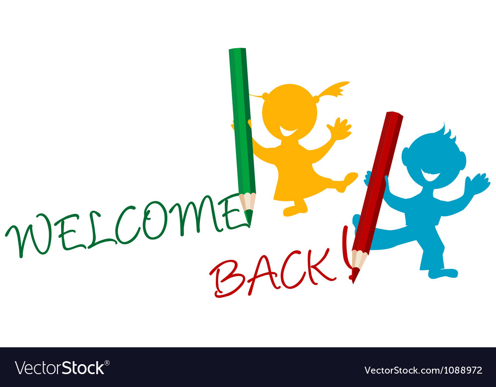 Welcome back announcement writting by kids vector | Price: 1 Credit (USD $1)