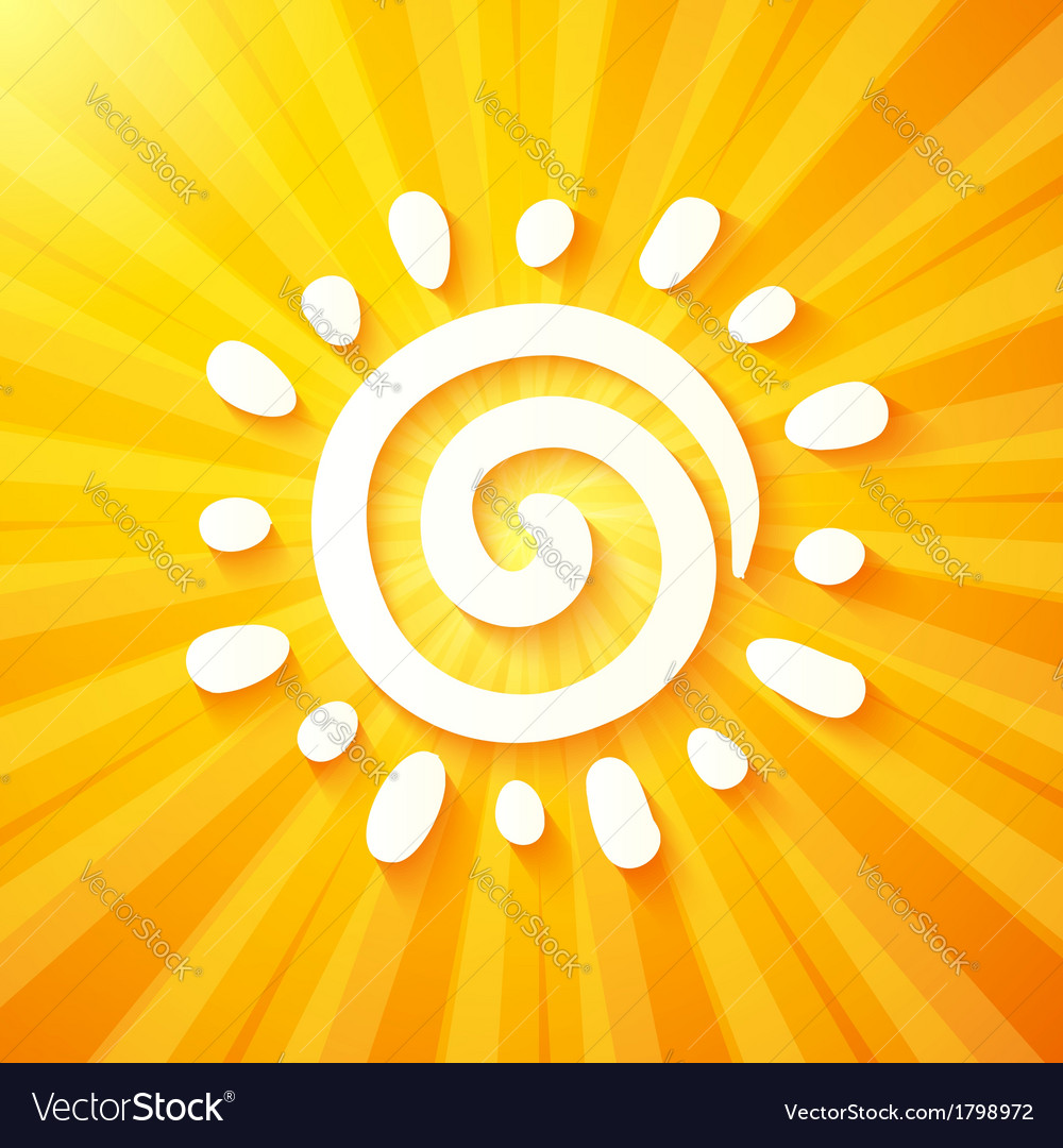 White cut out paper sun on yellow background vector | Price: 1 Credit (USD $1)