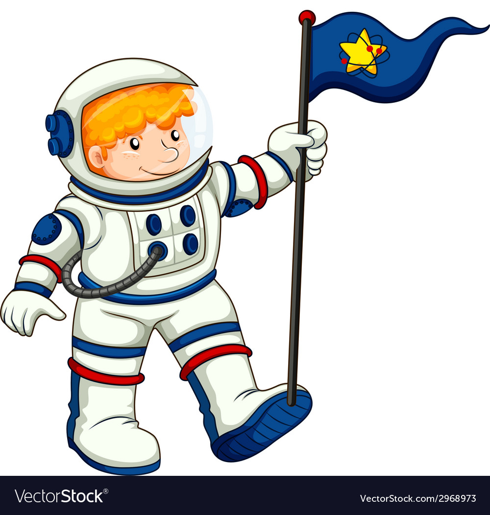 An astronaut holding a flag vector | Price: 1 Credit (USD $1)