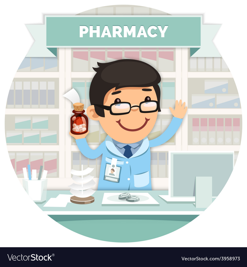 Apothecary behind the counter at pharmacy round vector | Price: 3 Credit (USD $3)