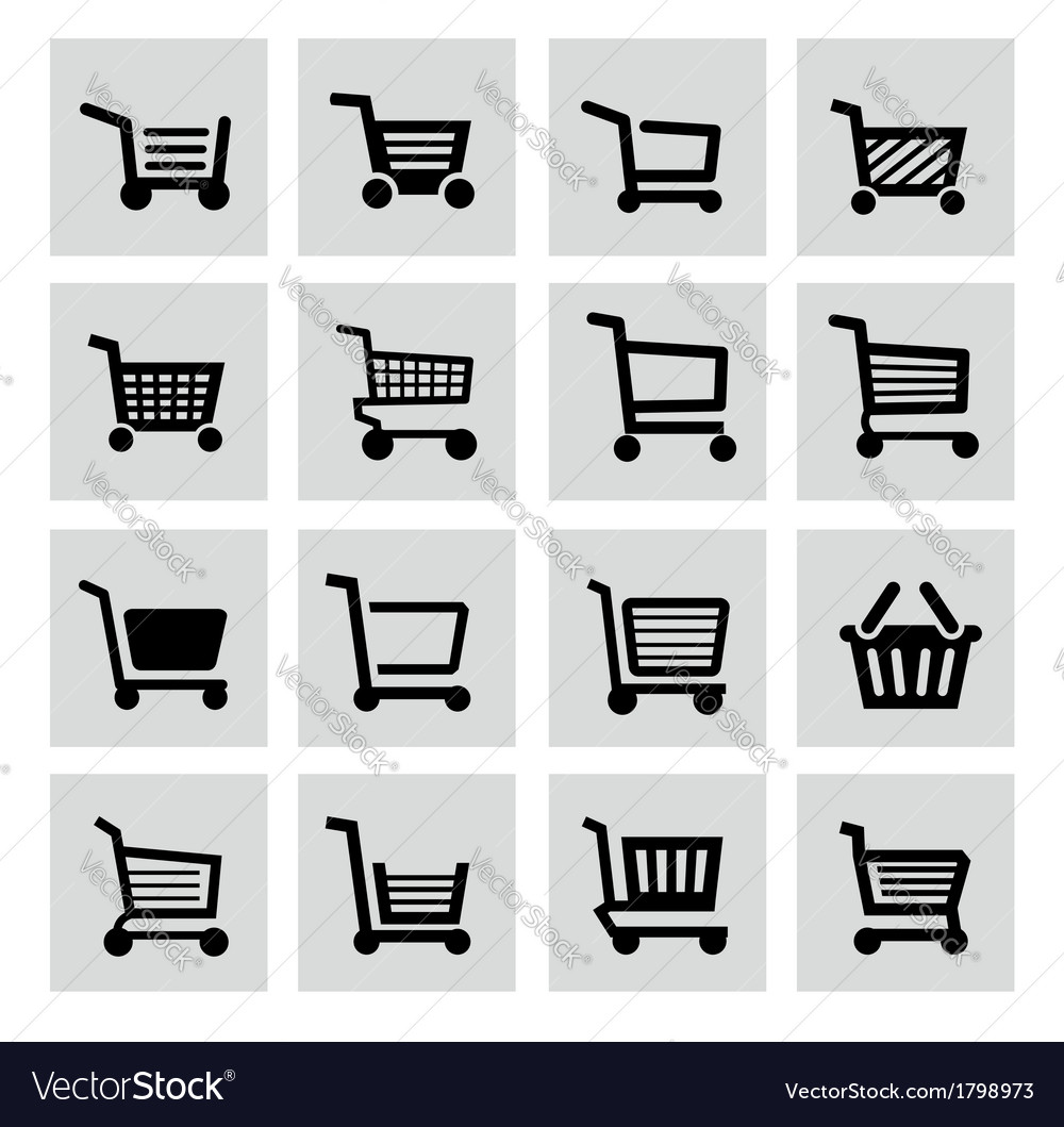 Black shopping cart icon set vector | Price: 1 Credit (USD $1)