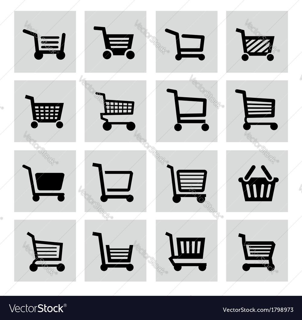 Black shopping cart icon set vector | Price: 1 Credit (USD $1)