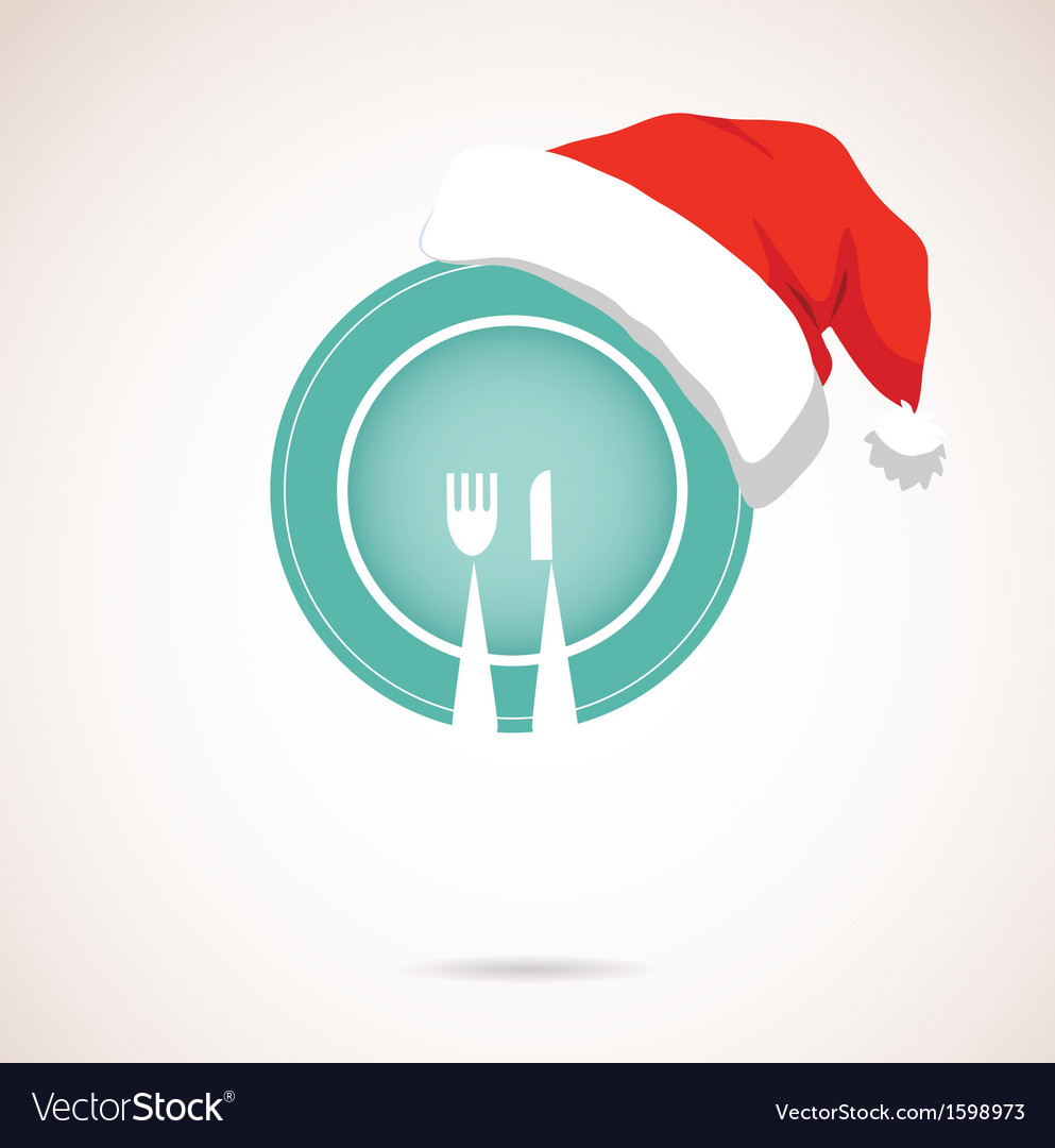 Christmas dinner plate wearing christmas red hat vector | Price: 1 Credit (USD $1)