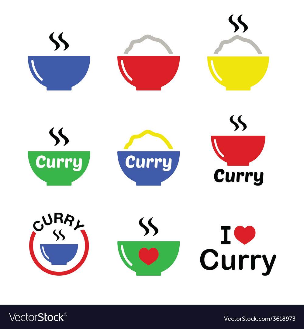 Curry indian spicy food icons set vector | Price: 1 Credit (USD $1)