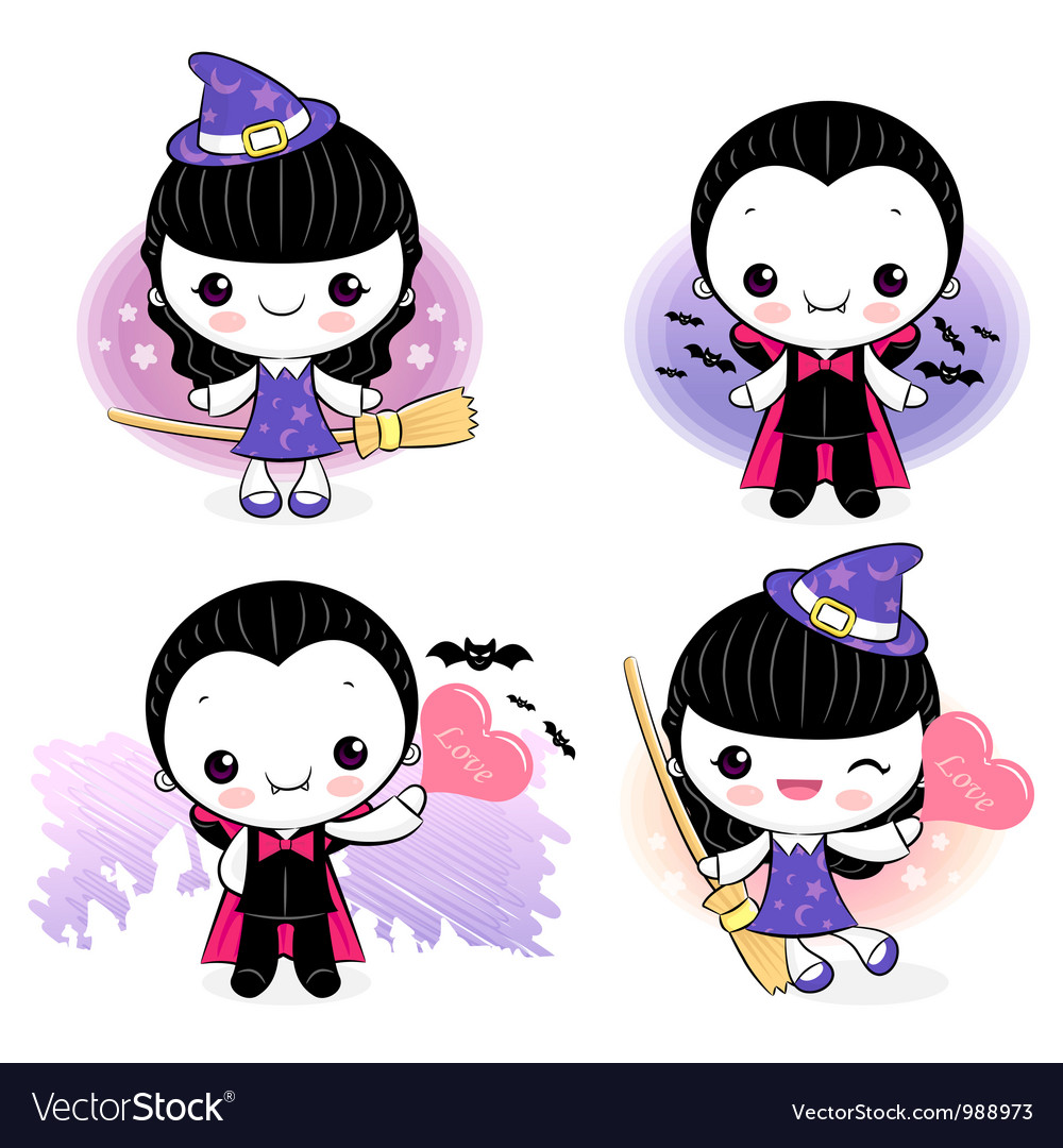 Dracula and little witch character vector | Price: 3 Credit (USD $3)