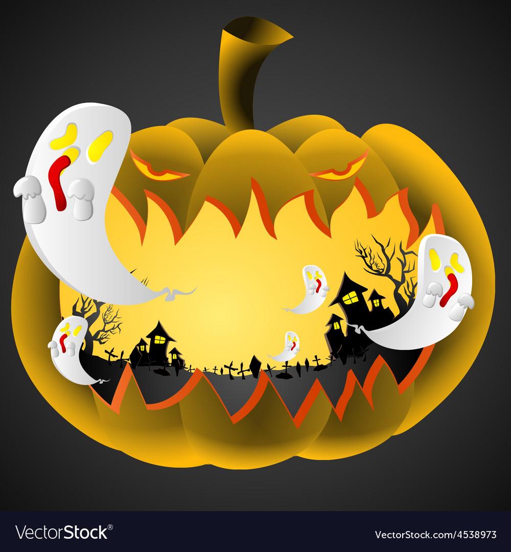 Halloween pumpkin on black background vector | Price: 1 Credit (USD $1)
