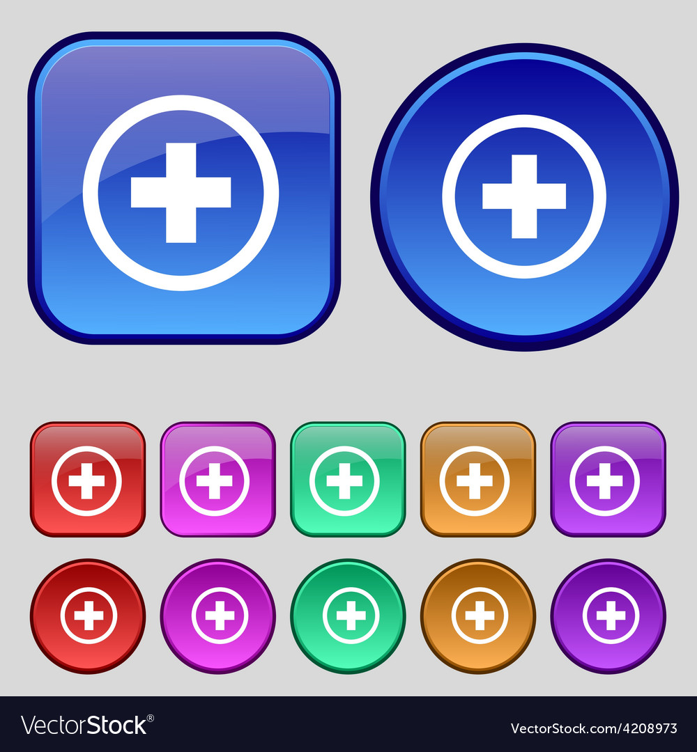 Plus positive zoom icon sign a set of twelve vector | Price: 1 Credit (USD $1)