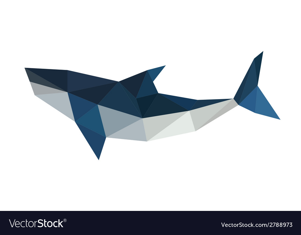 Poligonal origami shark vector | Price: 1 Credit (USD $1)