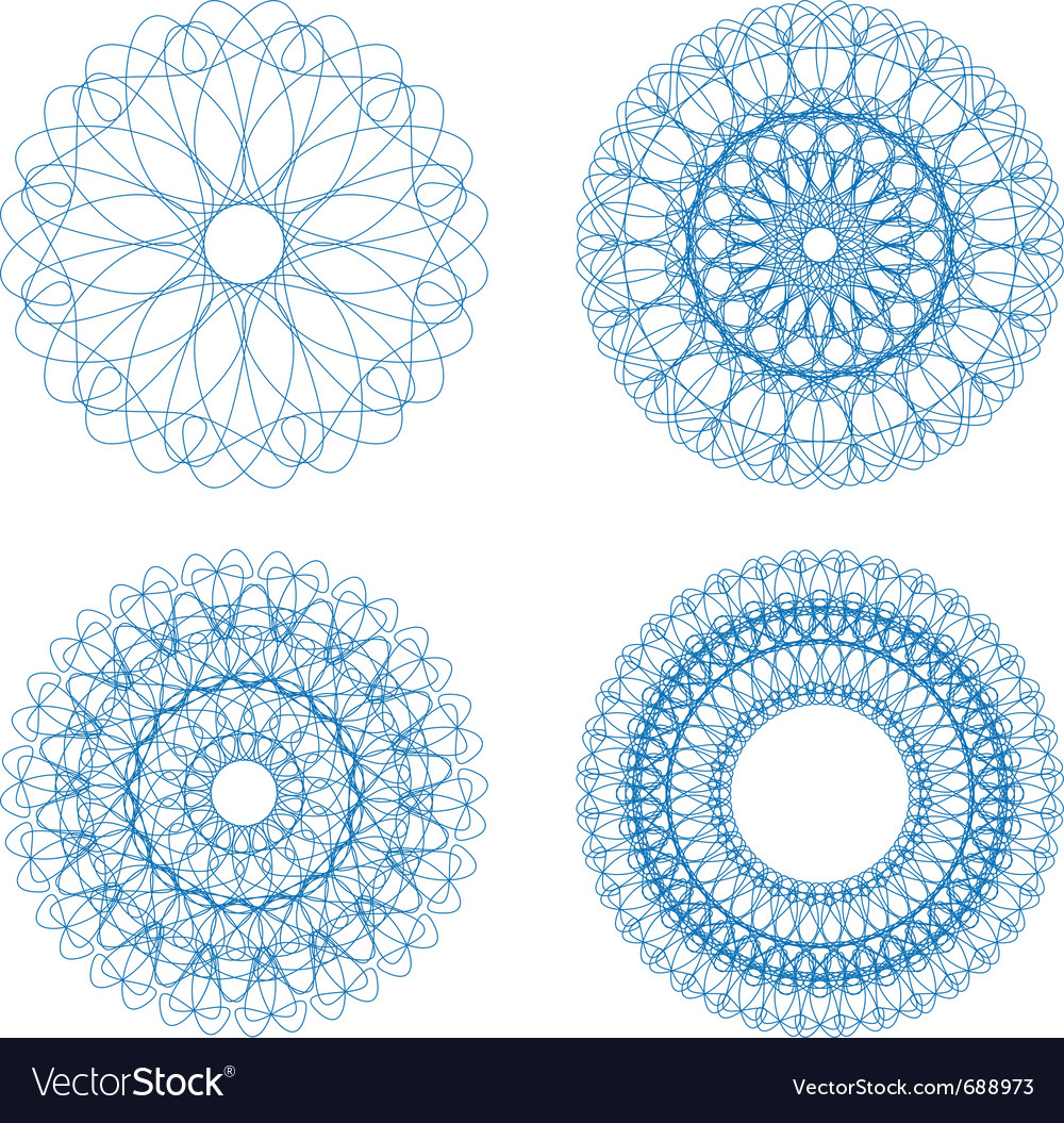 Set of blue guilloche rosettes vector | Price: 1 Credit (USD $1)