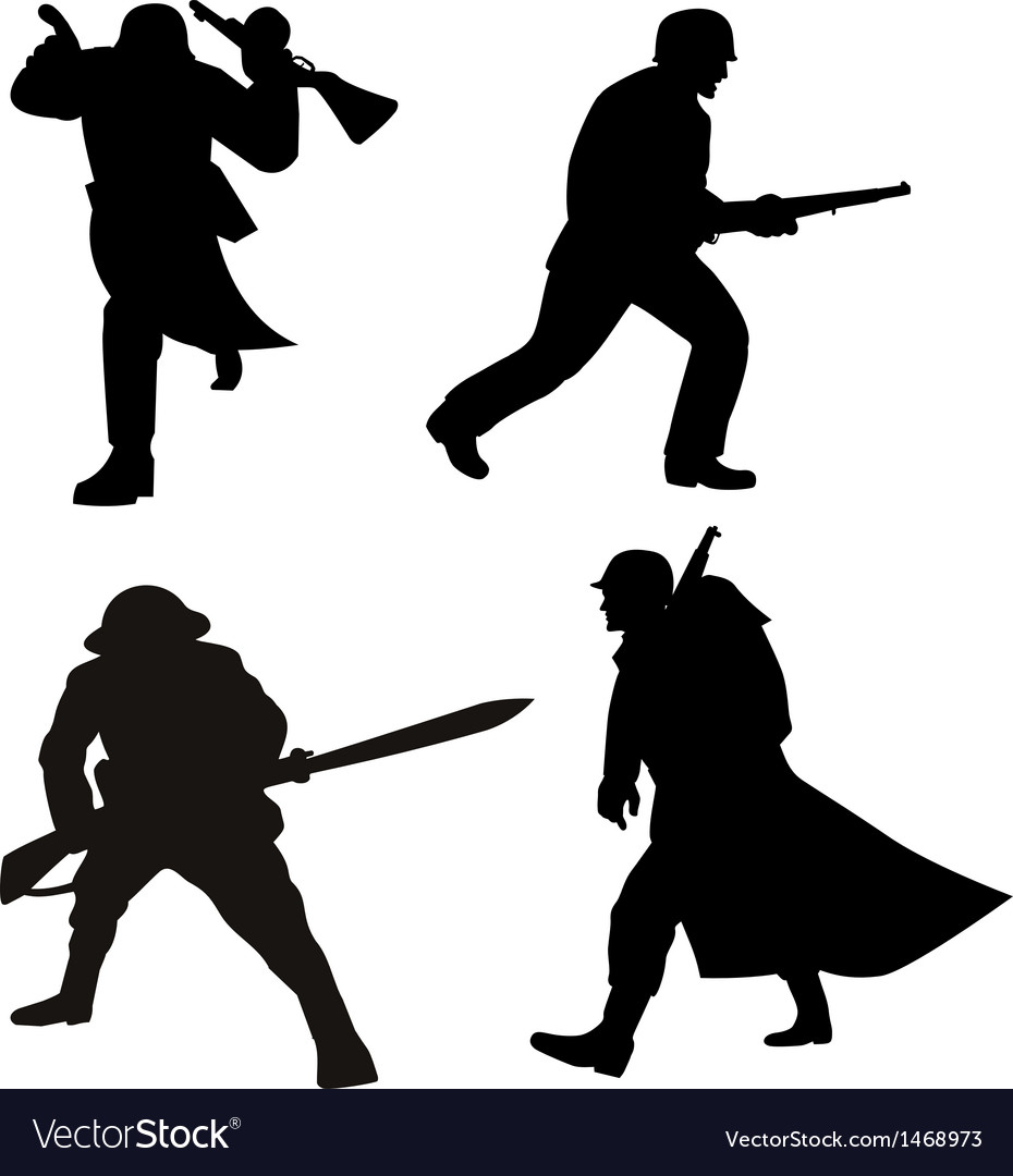 Soldier silhouettes vector | Price: 1 Credit (USD $1)