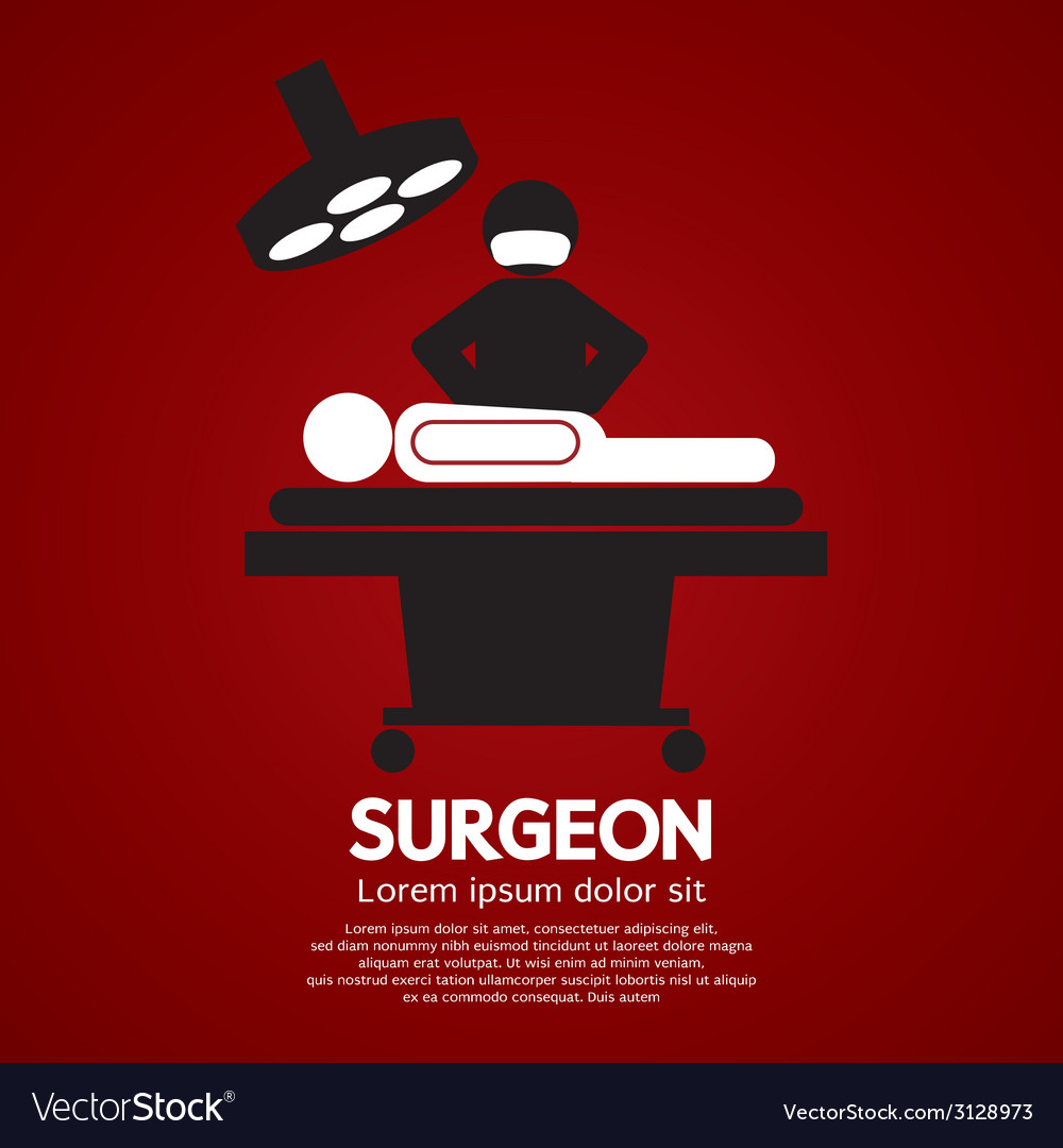 Surgeon operate on patient sign vector | Price: 1 Credit (USD $1)