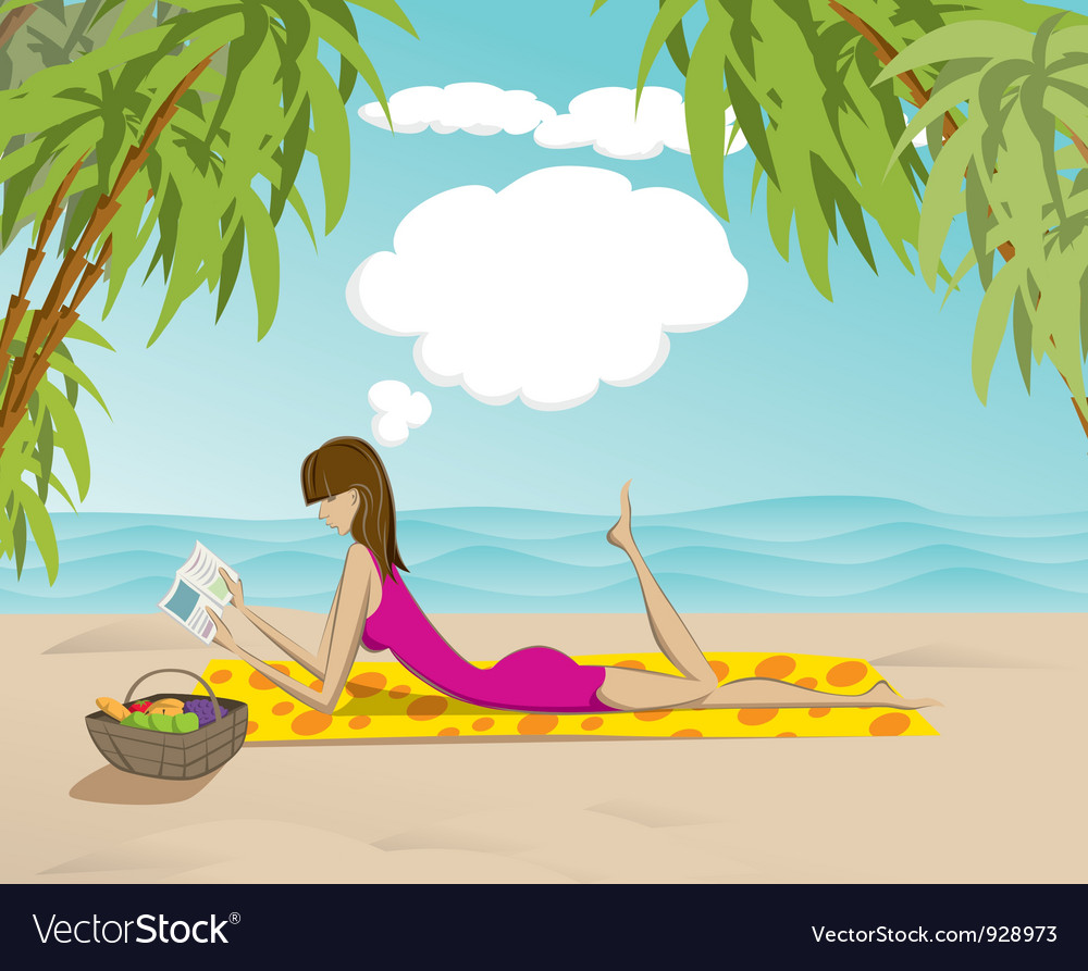 Woman on beach with book vector | Price: 3 Credit (USD $3)