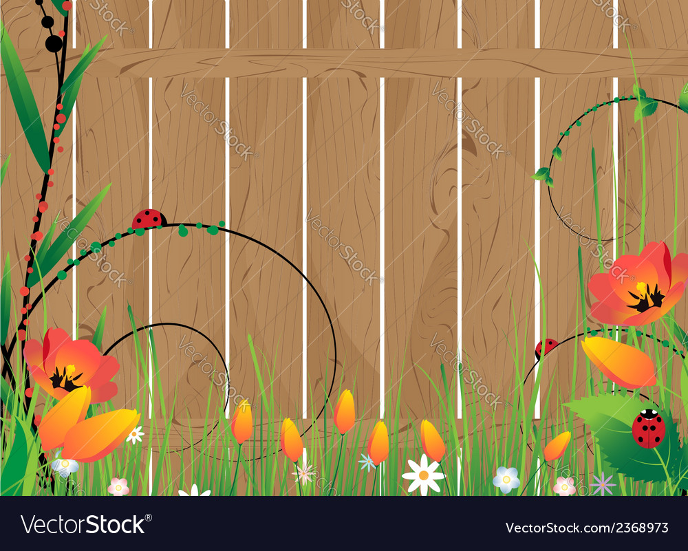 Wooden fence and flowers vector | Price: 1 Credit (USD $1)