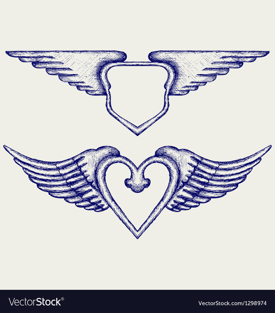 Banner with wings vector | Price: 1 Credit (USD $1)