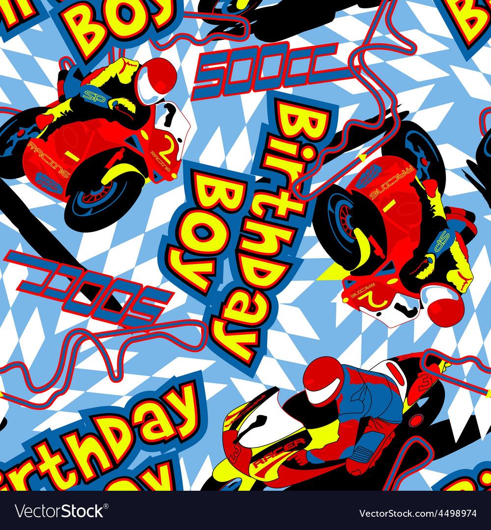 Birthday boy motorbike seamless pattern vector | Price: 1 Credit (USD $1)