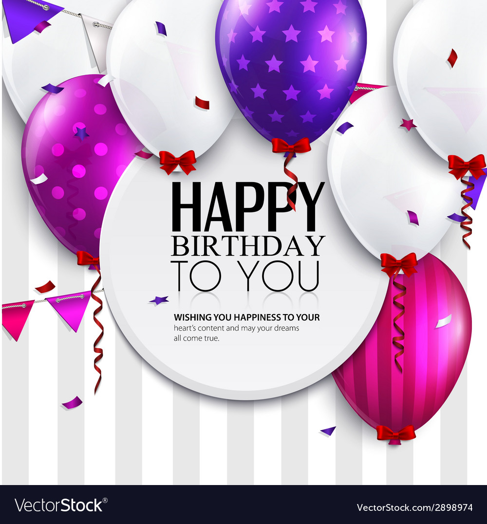 Birthday card with balloons and bunting flags on vector | Price: 1 Credit (USD $1)