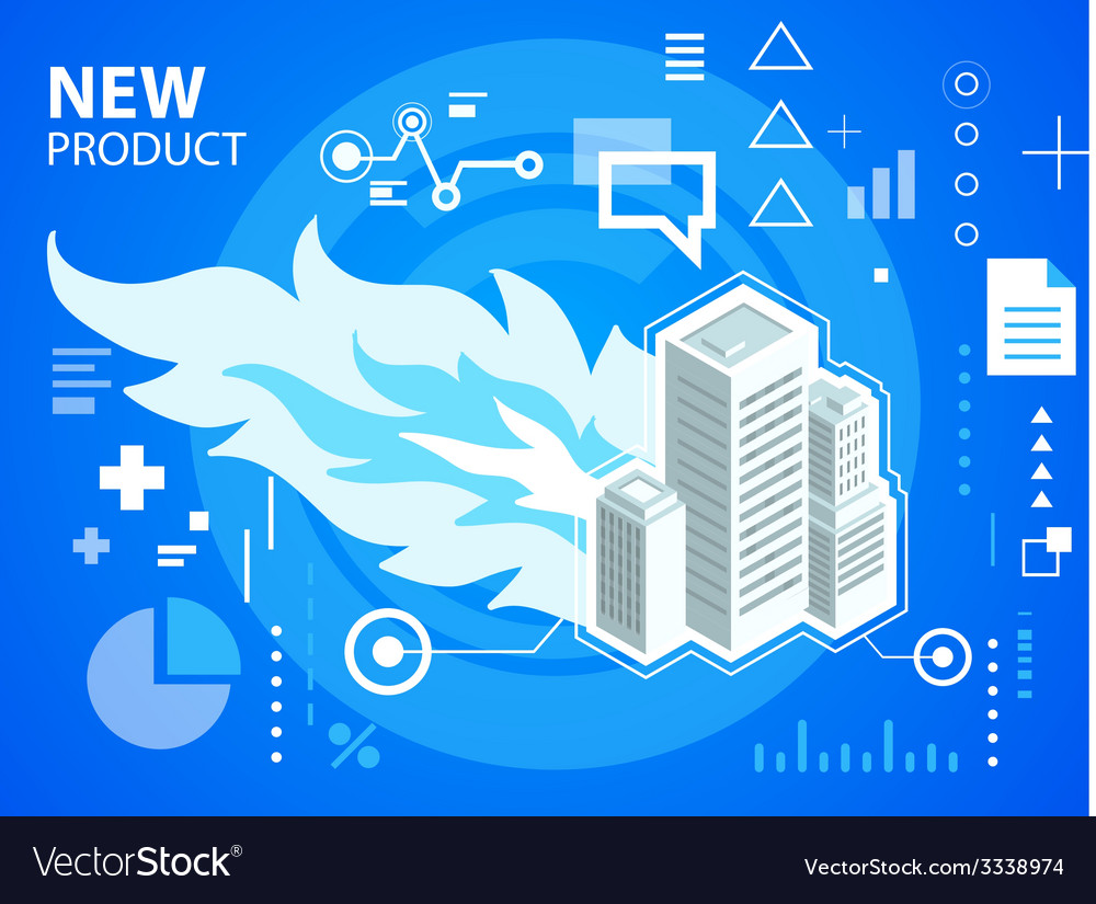 Bright fire and buildings on blue background vector | Price: 3 Credit (USD $3)