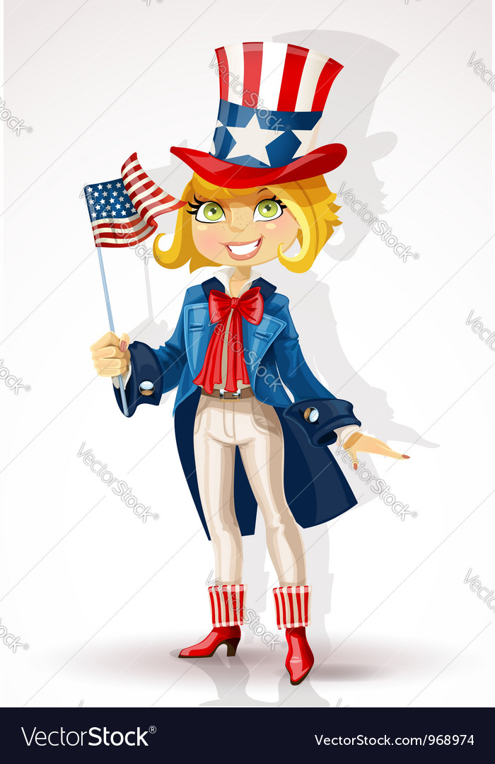 Girl in a suit of uncle sam and with flag usa vector | Price: 3 Credit (USD $3)