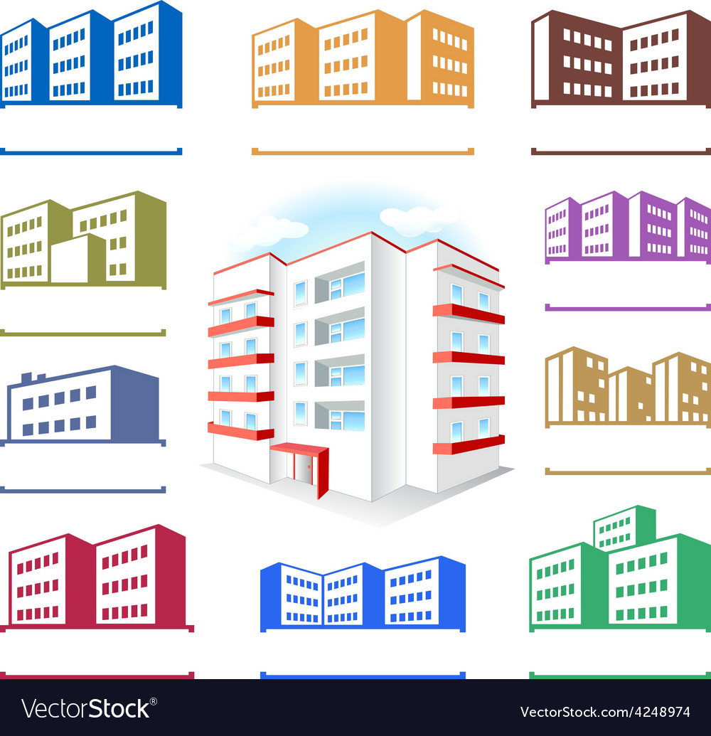 Multistoried building site icons logo set vector | Price: 1 Credit (USD $1)