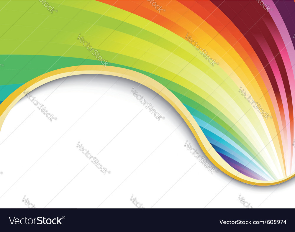Rainbow card with golden ribbon vector | Price: 1 Credit (USD $1)