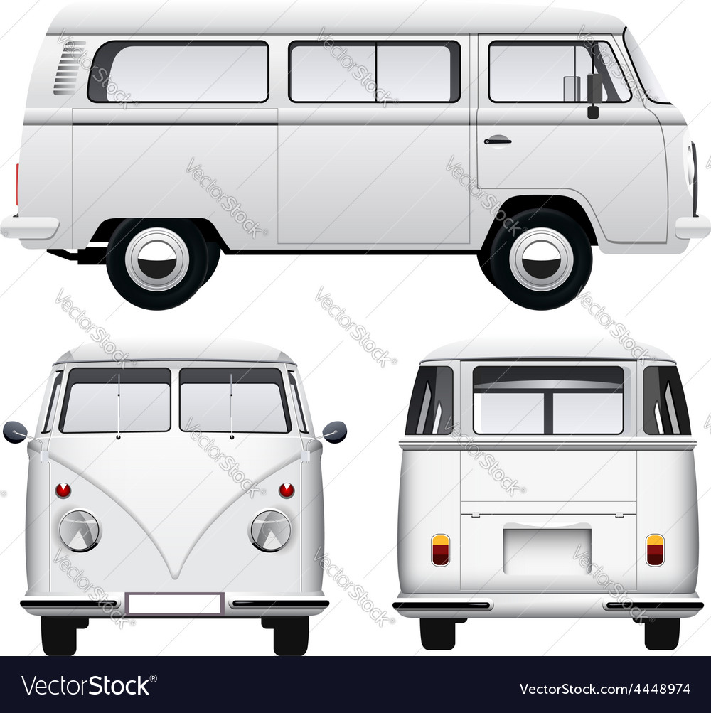 Retro white van vector | Price: 3 Credit (USD $3)