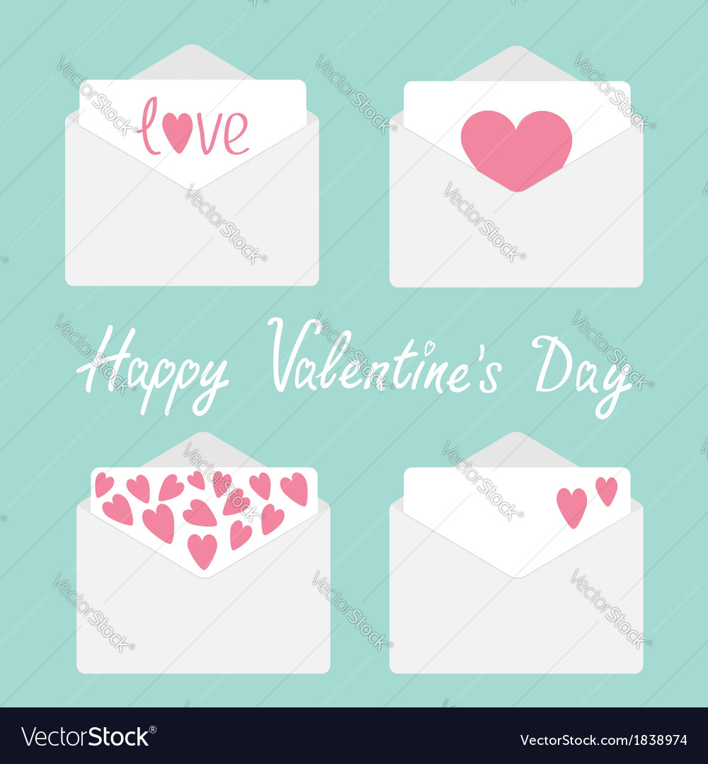 Set of four envelopes with hearts valentines day vector | Price: 1 Credit (USD $1)