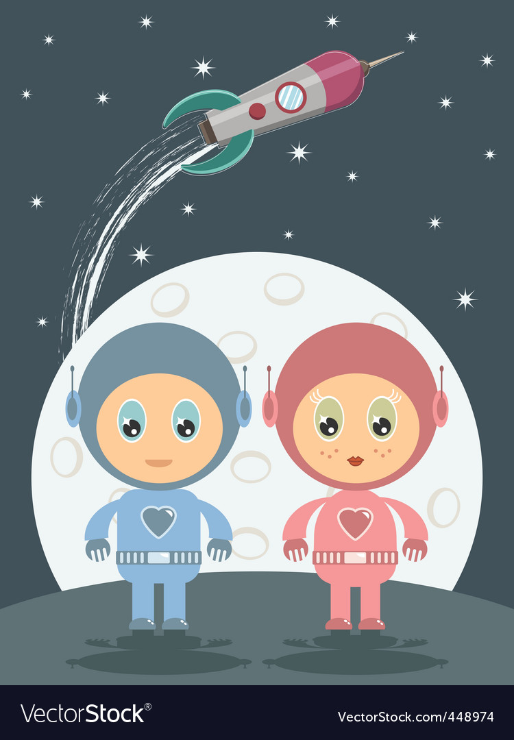 Space boy and girl vector | Price: 1 Credit (USD $1)