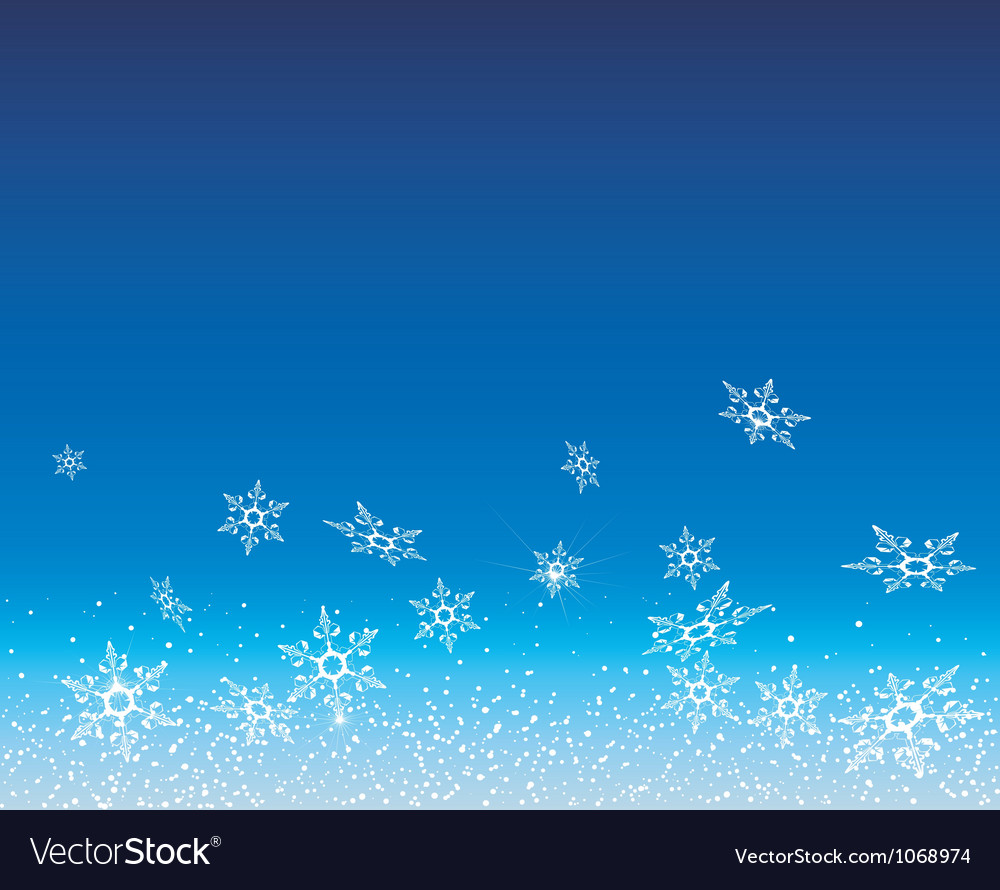 White snowflakes fly on a blue background vector | Price: 1 Credit (USD $1)