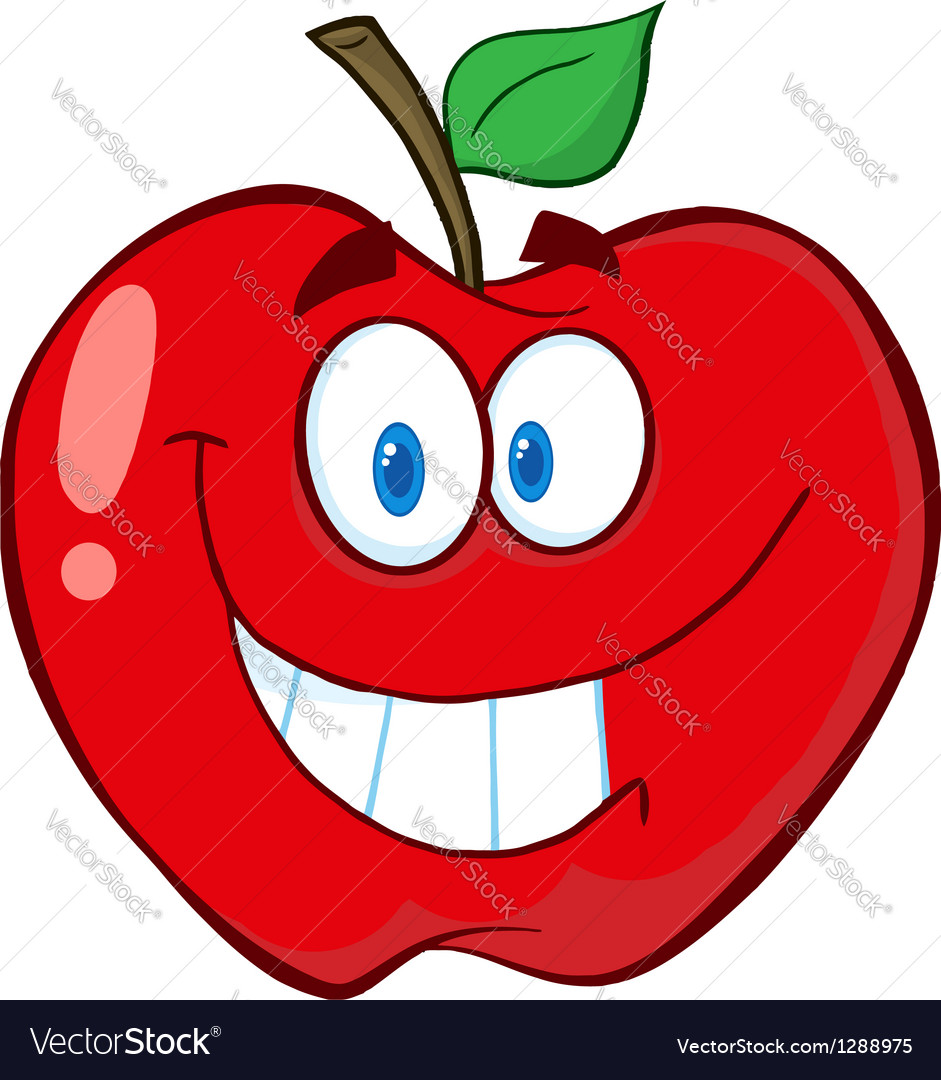 Apple cartoon mascot character vector | Price: 1 Credit (USD $1)