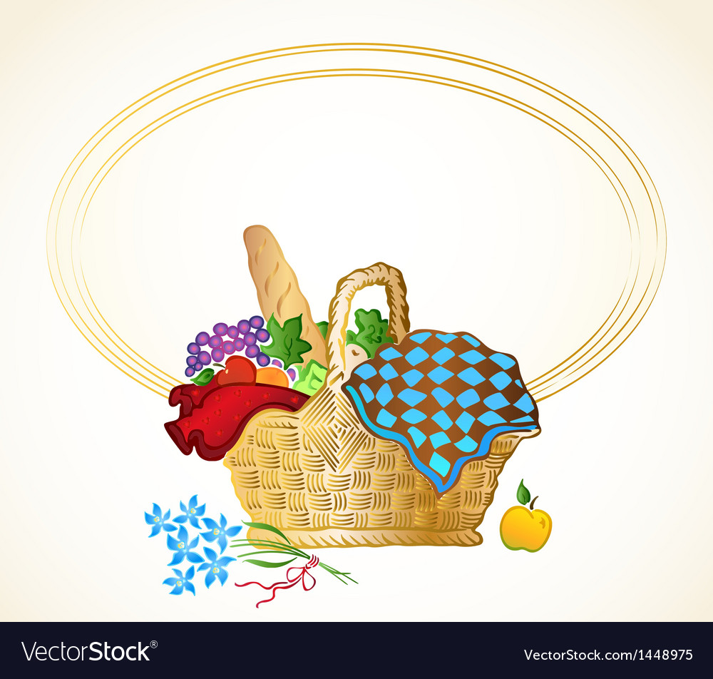 Bunch of food in the basket background vector | Price: 1 Credit (USD $1)