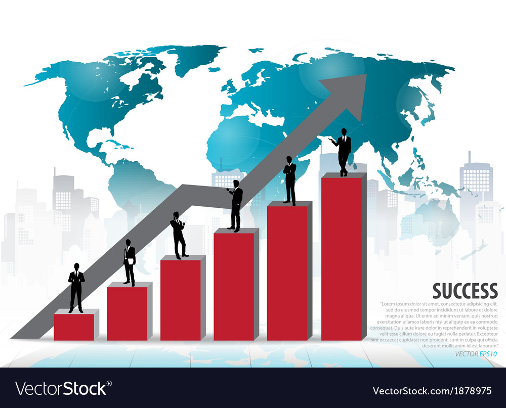 Businessman standing on graph vector   Price: 1 Credit (USD $1)