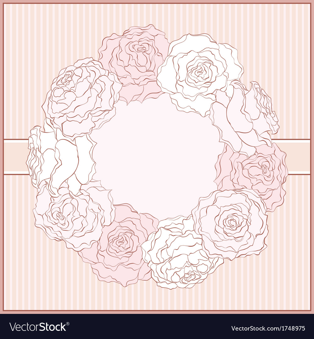 Card with rose frame in retro style vector | Price: 1 Credit (USD $1)
