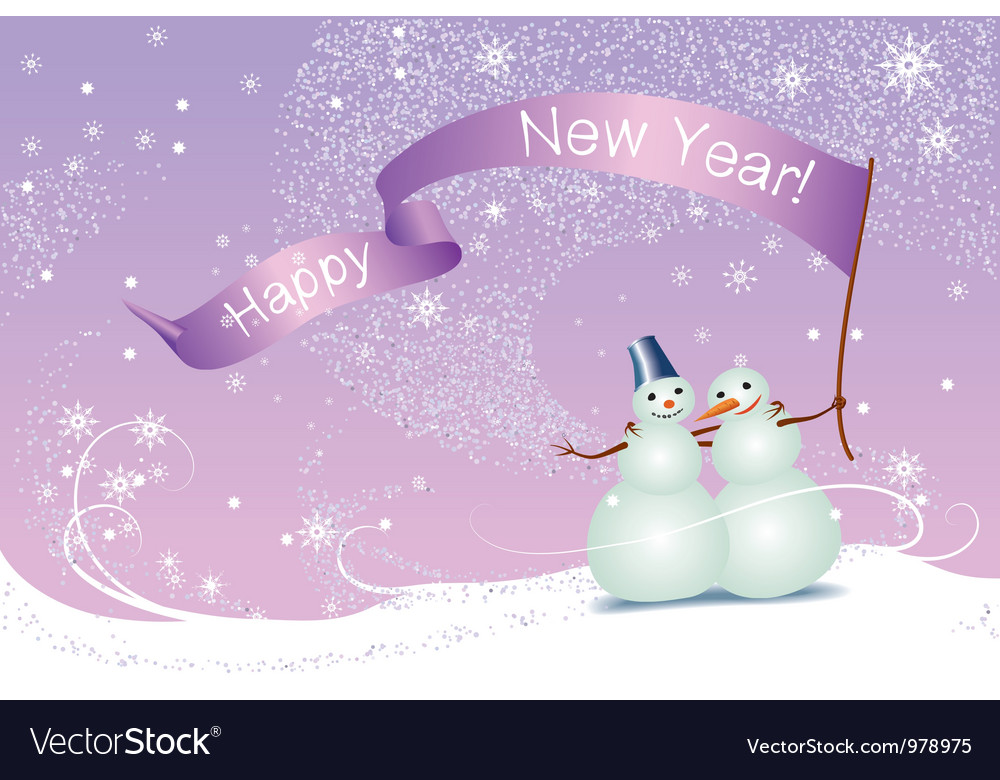 Christmas card snowmen vector | Price: 1 Credit (USD $1)