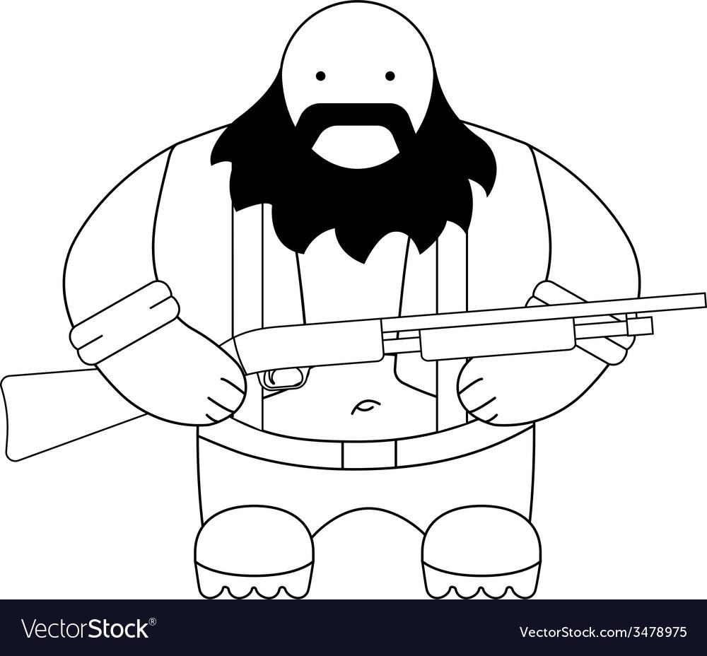 Fat redneck with shotgun line-art vector | Price: 1 Credit (USD $1)