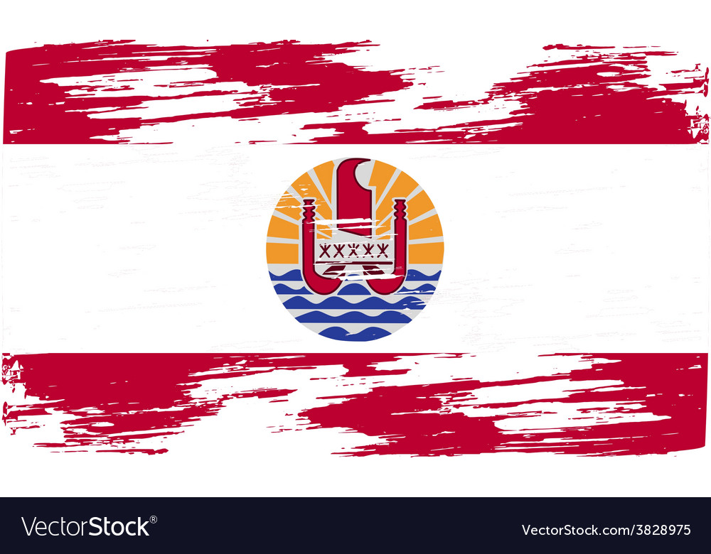 Flag of french polynesia with old texture vector | Price: 1 Credit (USD $1)