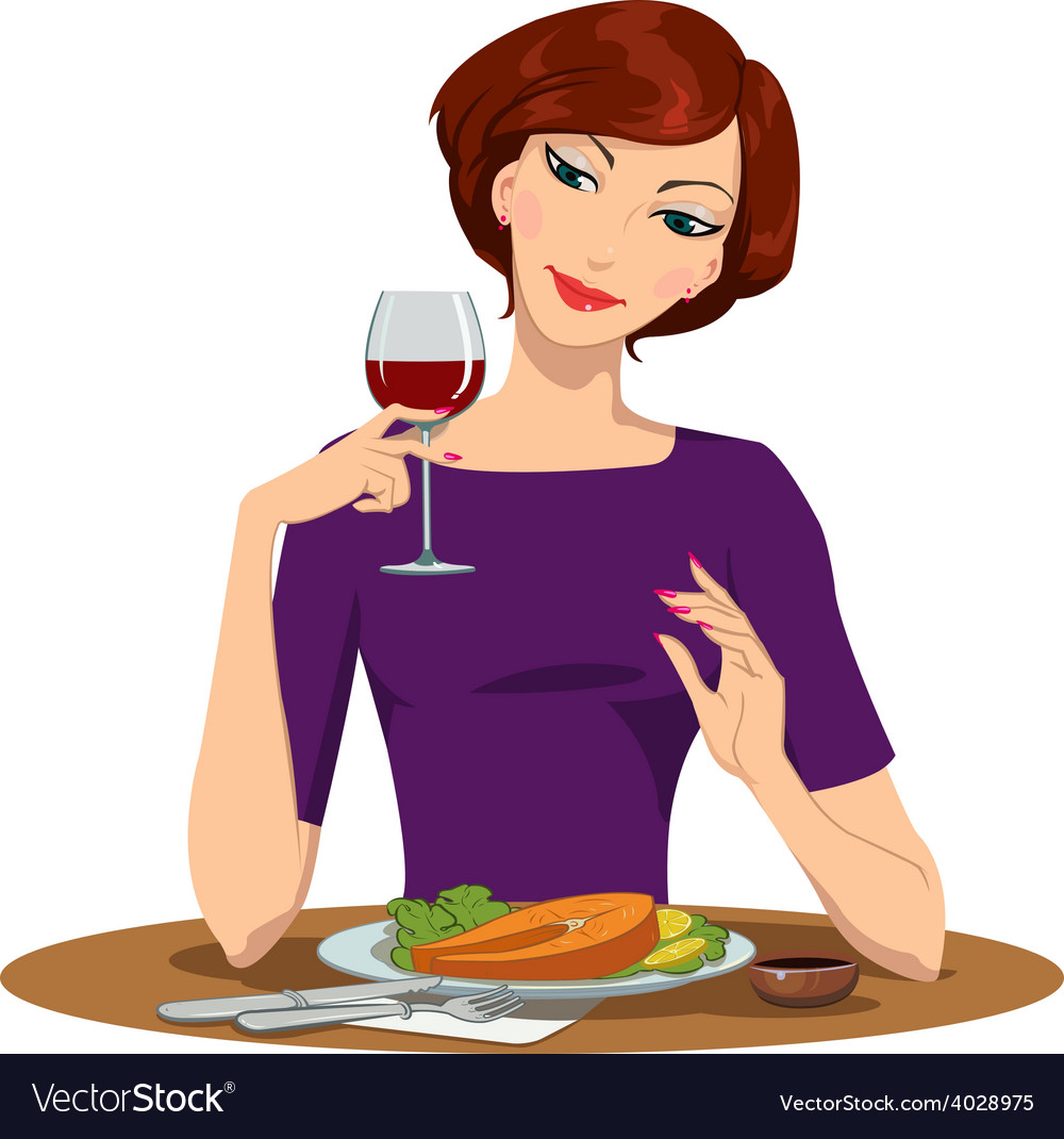 Girl eating salmon steak and drinking red wine vector | Price: 1 Credit (USD $1)