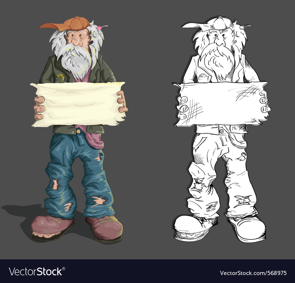 Homeless man with sign vector | Price: 5 Credit (USD $5)