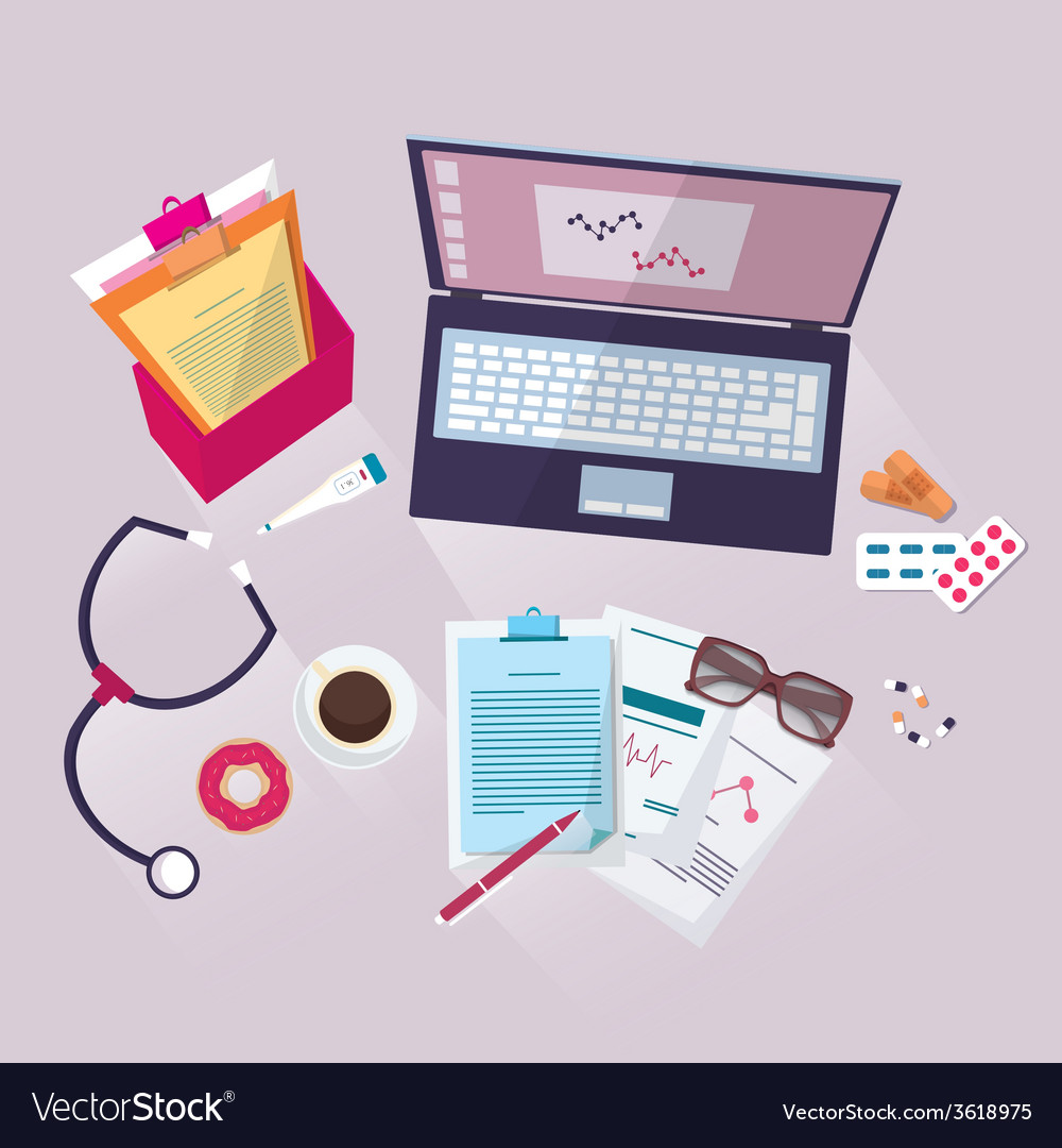 Medical workplace flat design vector | Price: 1 Credit (USD $1)