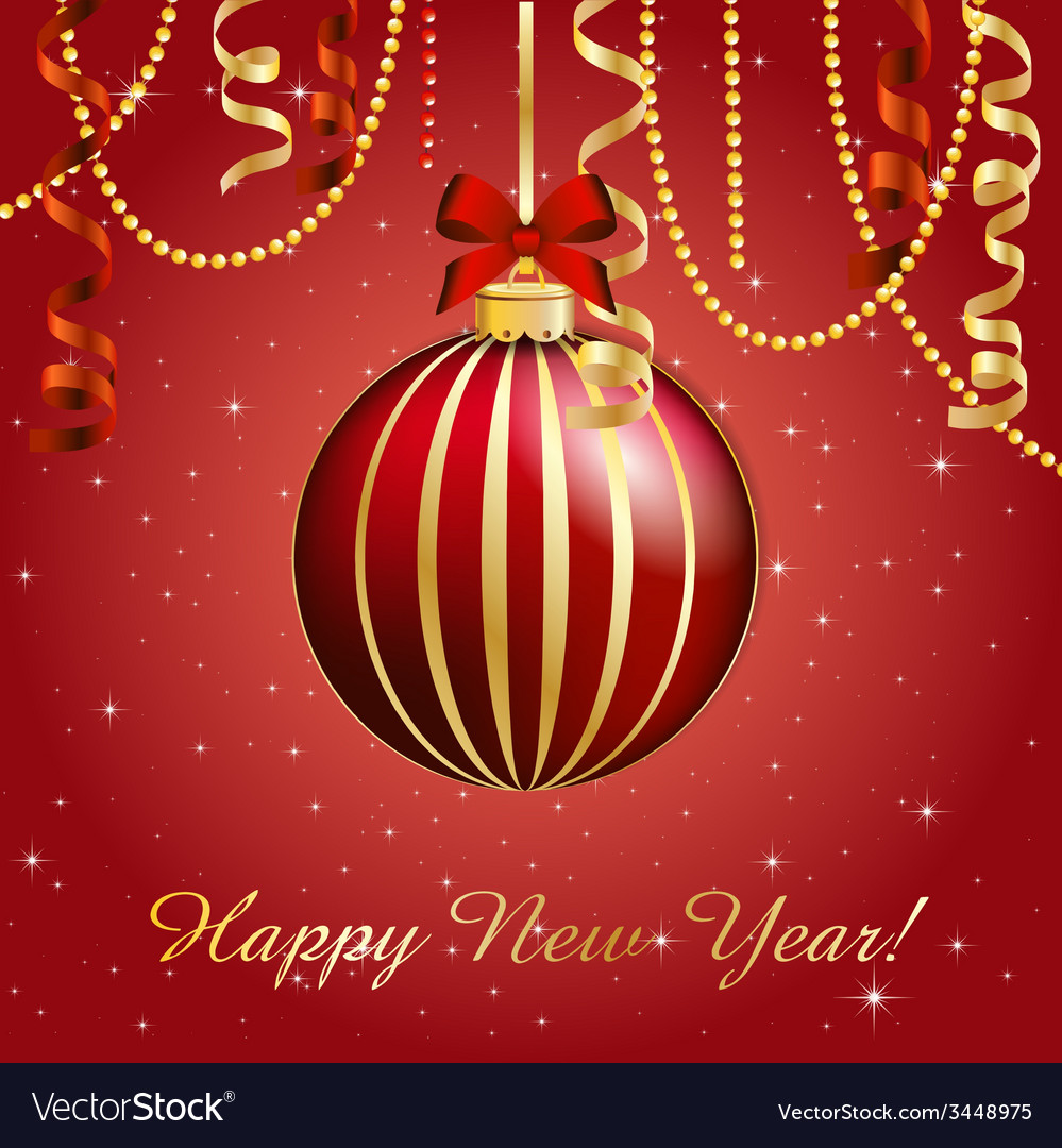New year greeting card christmas ball with bow and vector | Price: 1 Credit (USD $1)