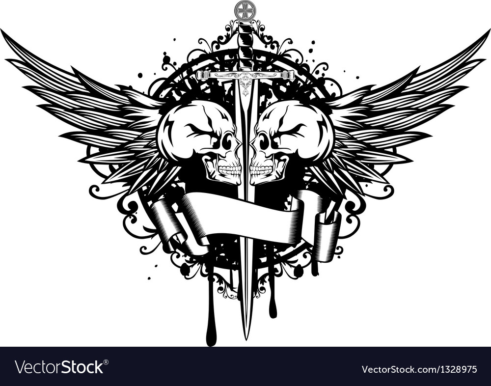Two skulls wings and sword vector | Price: 1 Credit (USD $1)
